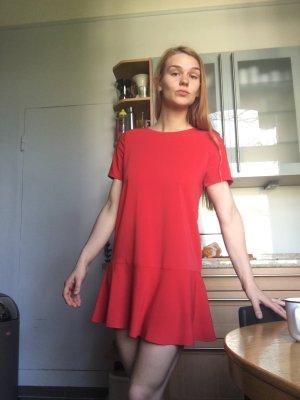 Rotes Kleid locker fallend minikleid Mini Sommer Ball ballon rüschen tshirt Ärmel