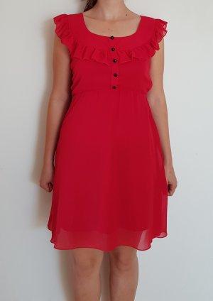 Rotes Kleid mit Knopfleiste