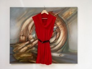 Robe chiffon rouge-rouge clair