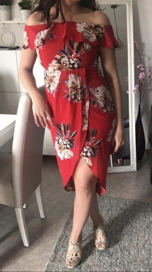 Rotes Kleid Offshoulderkleid mit Blumenmuster neu