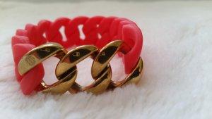Rotes, Korallfarbenes Armband mit Gold