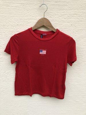 H&M Camicia cropped rosso scuro-rosso