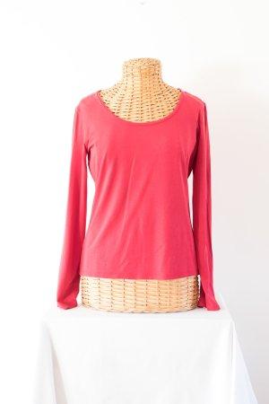 rotes Langarm-Shirt mit Rundkragen