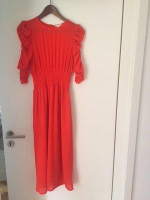 Rotes Midi Kleid mit Raffung