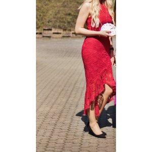 rotes Neckholder Midi- Kleid