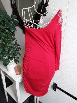 Melrose Vestido de un hombro color plata-rojo