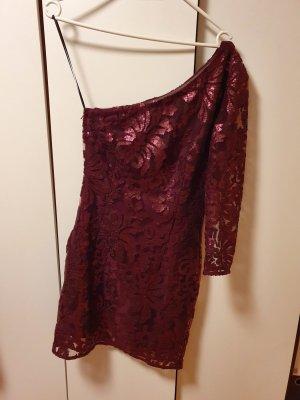 H&M Vestido de lentejuelas rojo oscuro