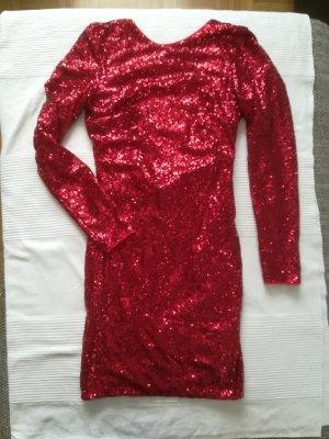 H&M Robe à paillettes rouge foncé