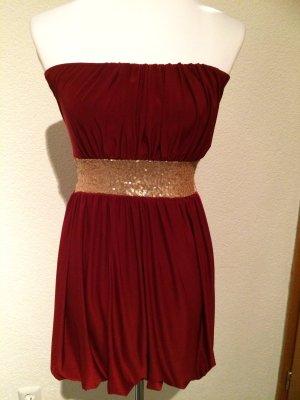rotes Paillettenkleid / Kleid mit goldenen Pailletten - Gr. 32/34 - XS