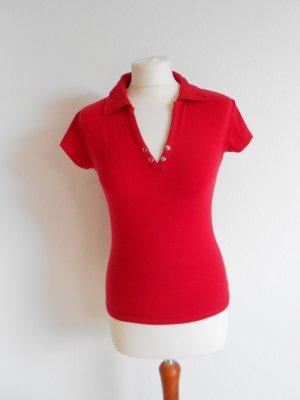 Rotes Polo - Shirt Gr S 34/36 mit Druckknöpfen