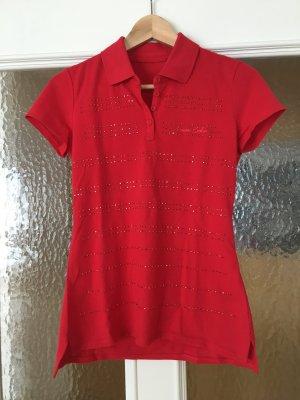 Rotes Polohemd mit Strass von Armani Exchange