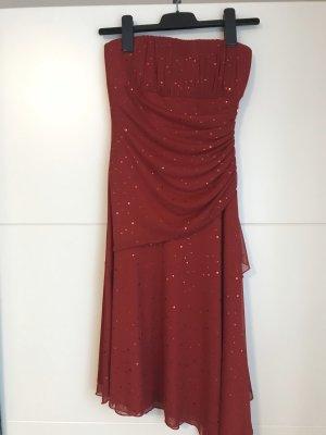 Vestido strapless rojo oscuro-rojo