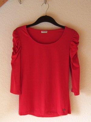 Rotes Shirt mit Arm-Raffung - Größe 38