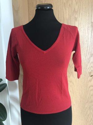 V-hals shirt baksteenrood-donkerrood Gemengd weefsel