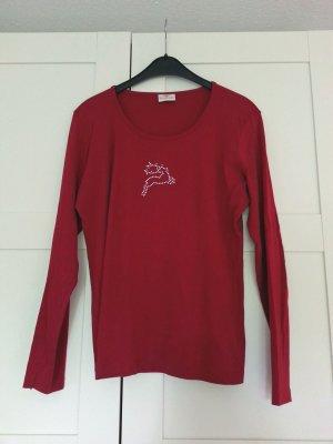 Rotes Shirt mit Strassapplikation, Gr. M