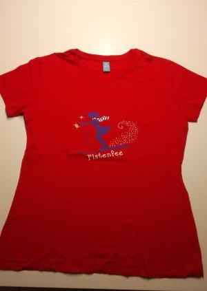 T-shirt rood-leigrijs