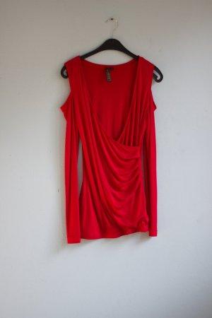 Rotes Shirt Wasserfallausschnitt Cut-Out Cold Shoulder hipster blogger