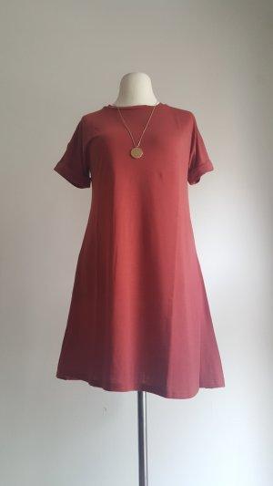 T-shirt jurk baksteenrood