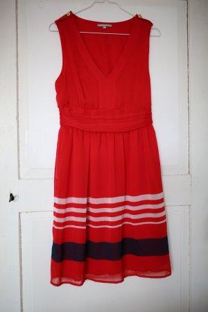 Rotes Sommerkleid in Marineoptik Gr.36