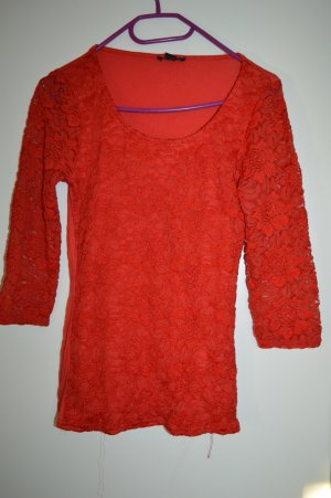 Rotes Spitzenshirt Gr. 34 Amisu