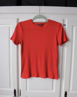 Rotes strukturiertes Shirt von Zara Größe M L