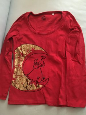 Rotes T-Shirt langarm mit Druck Mond und Kuh, Gr. XL, NEU