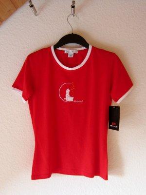 """Rotes T-Shirt mit Motiv-Text-Print """"Glückskind"""""""