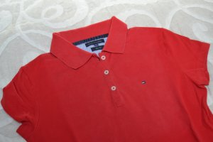 Rotes Tommy Hilfiger Poloshirt Gr. M Slim Fit