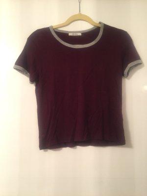 Bershka T-shirt bordeaux-grijs
