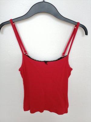 Rotes Top/Hemdchen mit schwarzer Spitze (Bruno Banani)