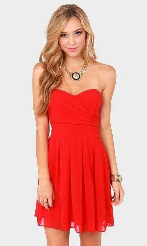 Rotes Trägerloses Abendkleid