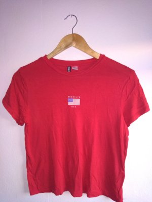 H&M Divided Cropped Shirt brick red