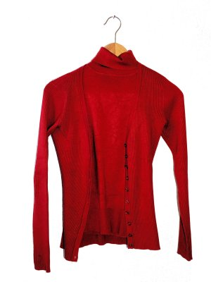 Fransa Knitted Twin Set red mixture fibre