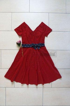 Rotes Vintage Midikleid aus Baumwolle