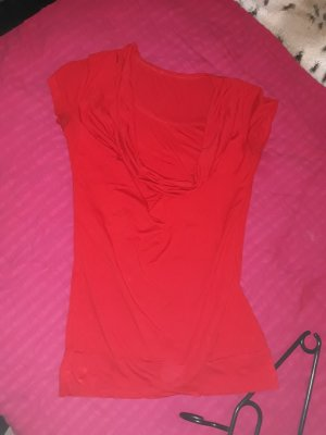 Cowl-Neck Shirt red