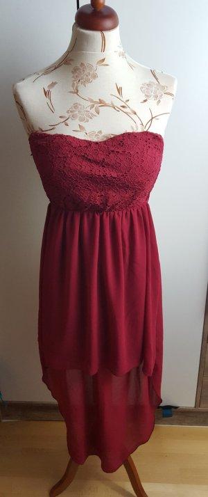 Rotpinkes leichtes Sommerkleid mit Vokuhila