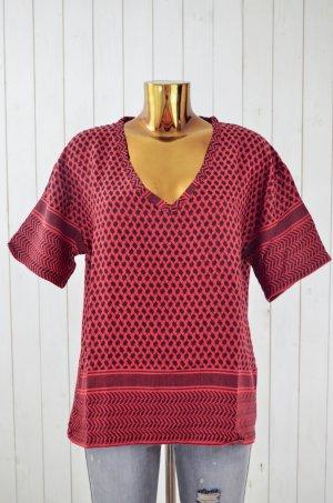 ROUGH STUDIOS Damen Bluse Oberteil Mod.Grace Pali-Muster V-Ausschnit Baumwolle