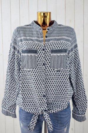 ROUGH STUDIOS Damen Bluse Oberteil Pali Muster Schwarz Weiß Baumwolle Gr. 0Size