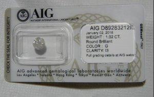 Round Brilliant 1,02 carat mit AIG Zertifikat!