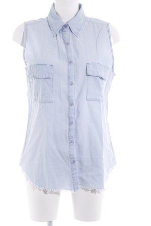 Roxy Mouwloze blouse azuur Jeans-look