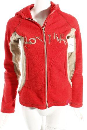 Roxy Fleecejacke rot-beige Schriftzug gestickt sportlicher Stil