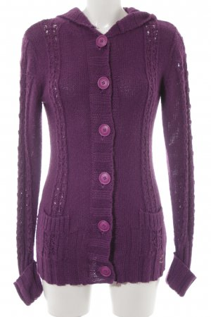 Roxy Coarse Knitted Jacket lilac cable stitch casual look