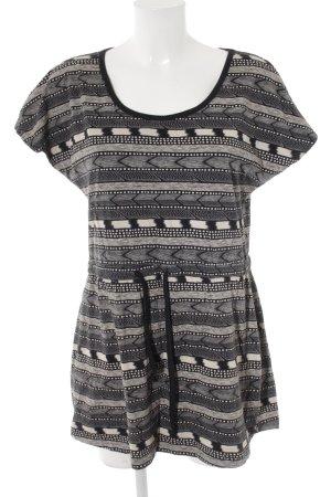 Roxy Abito jersey nero-crema stampa integrale stile spiaggia