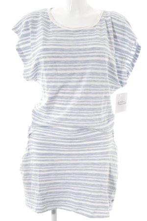 Roxy Kurzarmkleid weiß-himmelblau Streifenmuster Beach-Look