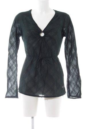 Roxy Langarm-Bluse schwarz Karomuster Casual-Look