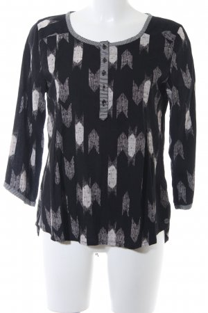 Roxy Langarm-Bluse schwarz-weiß abstraktes Muster Casual-Look