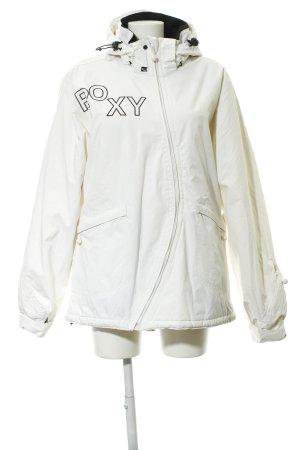 Roxy Chaqueta para exteriores beige claro-negro letras impresas estilo deportivo