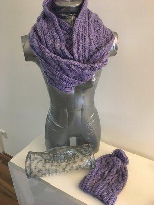 ROXY Schal und Pudelmütze, lila