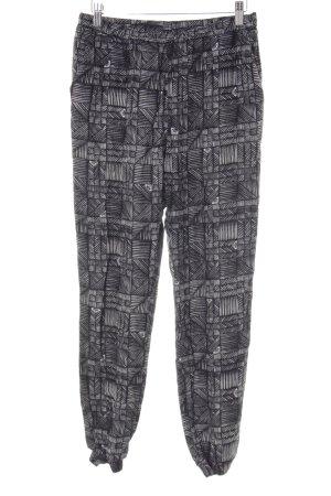 Roxy Stoffhose schwarz-weiß abstrakter Druck Casual-Look