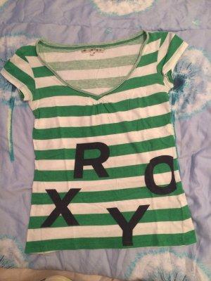 Roxy T-Shirt, Größe (S) M, grün-weiß⚠️letzte Reduzierung⚠️